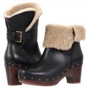 UGG Amoret Mid Leather Heeled Boots